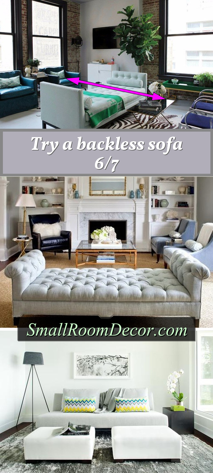 Backless sofa layout #livingroomsets