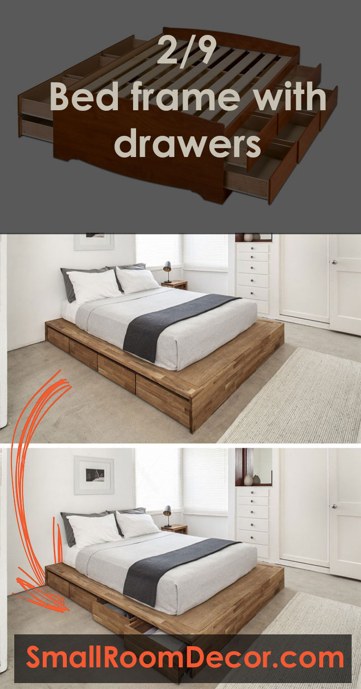 Bed frame with drawers for small beroom storage #diybedroomideasforsmallrooms