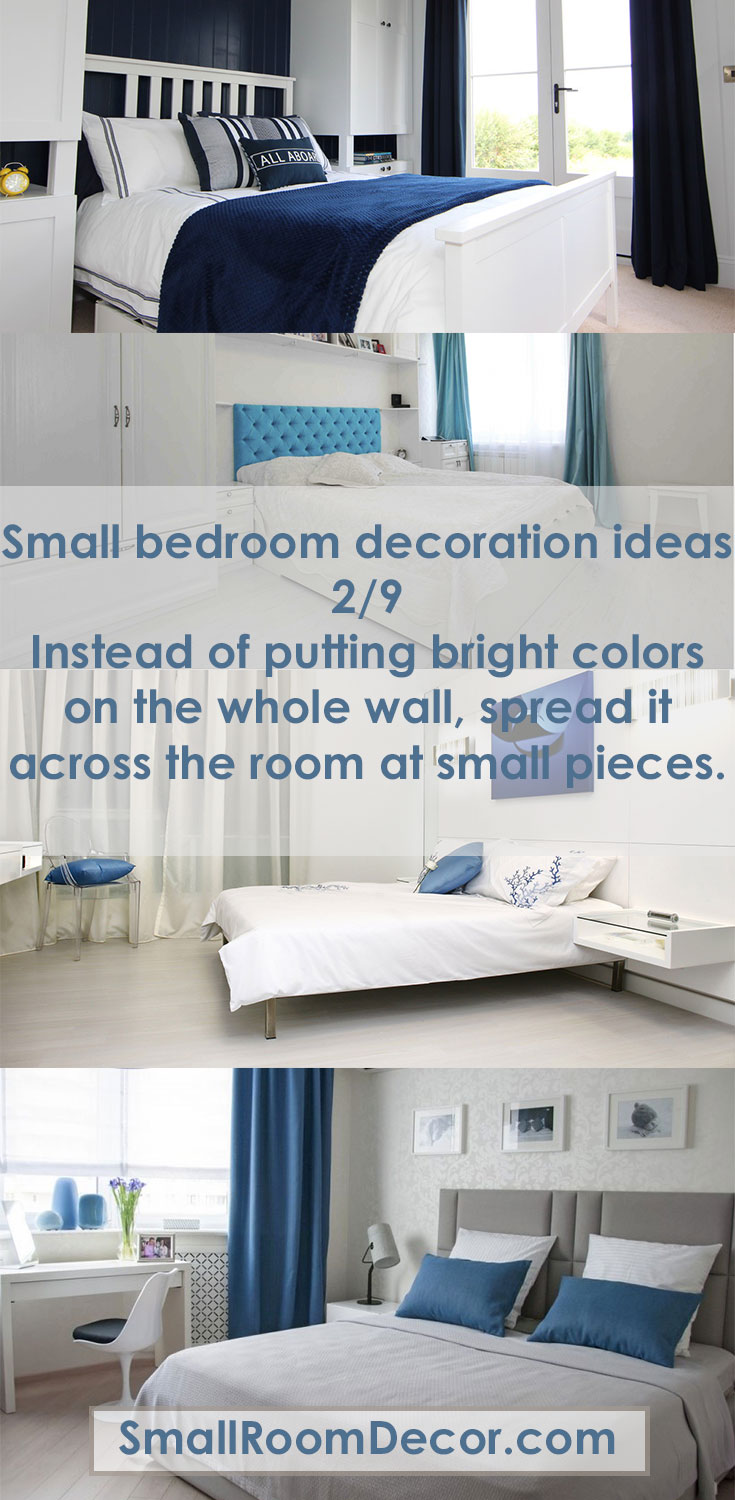 Blue accent color in small bedroom #bedroomdesign