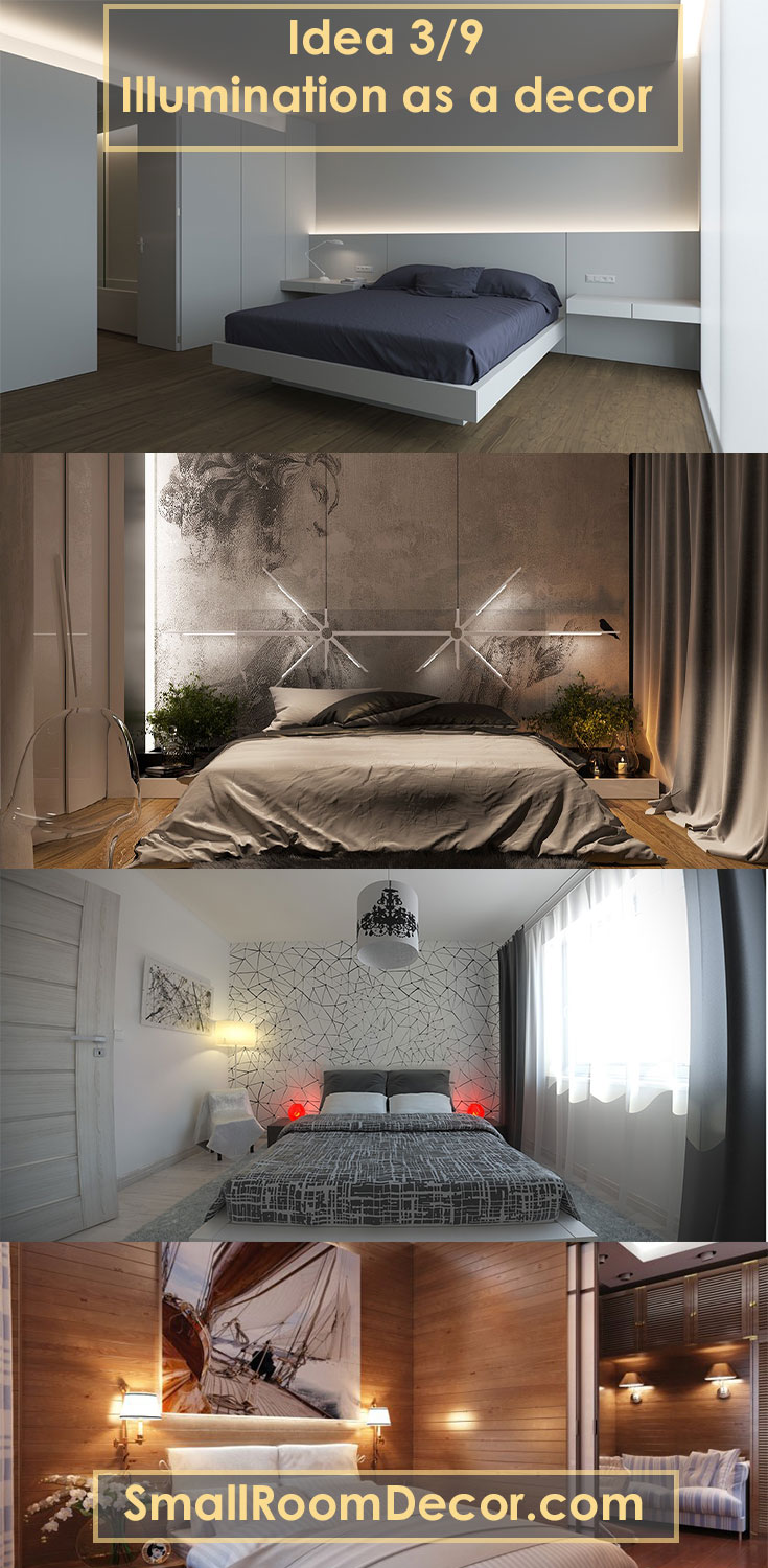 #illumination as a decor for small bedroom #bedroomwalldecor
