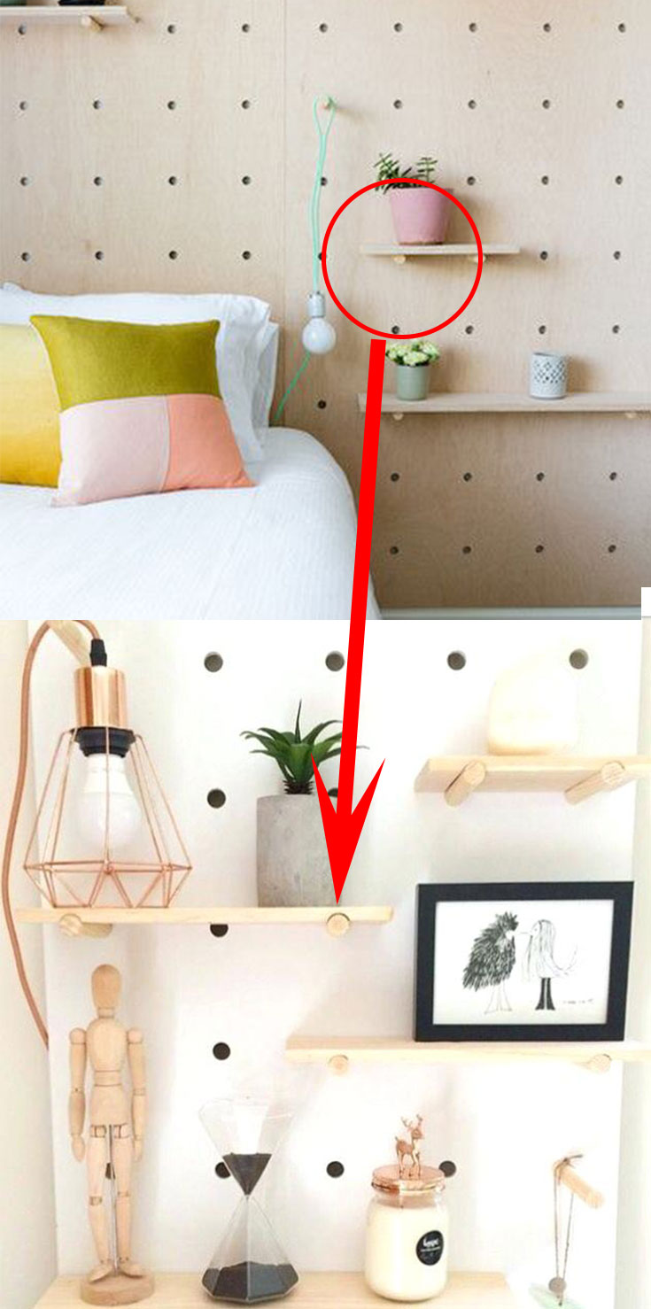 Pegboard in small bedroom