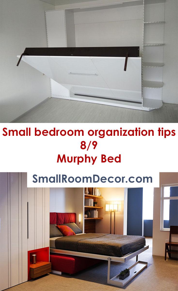 Small bedroom #organizationtips - Murphy Bed