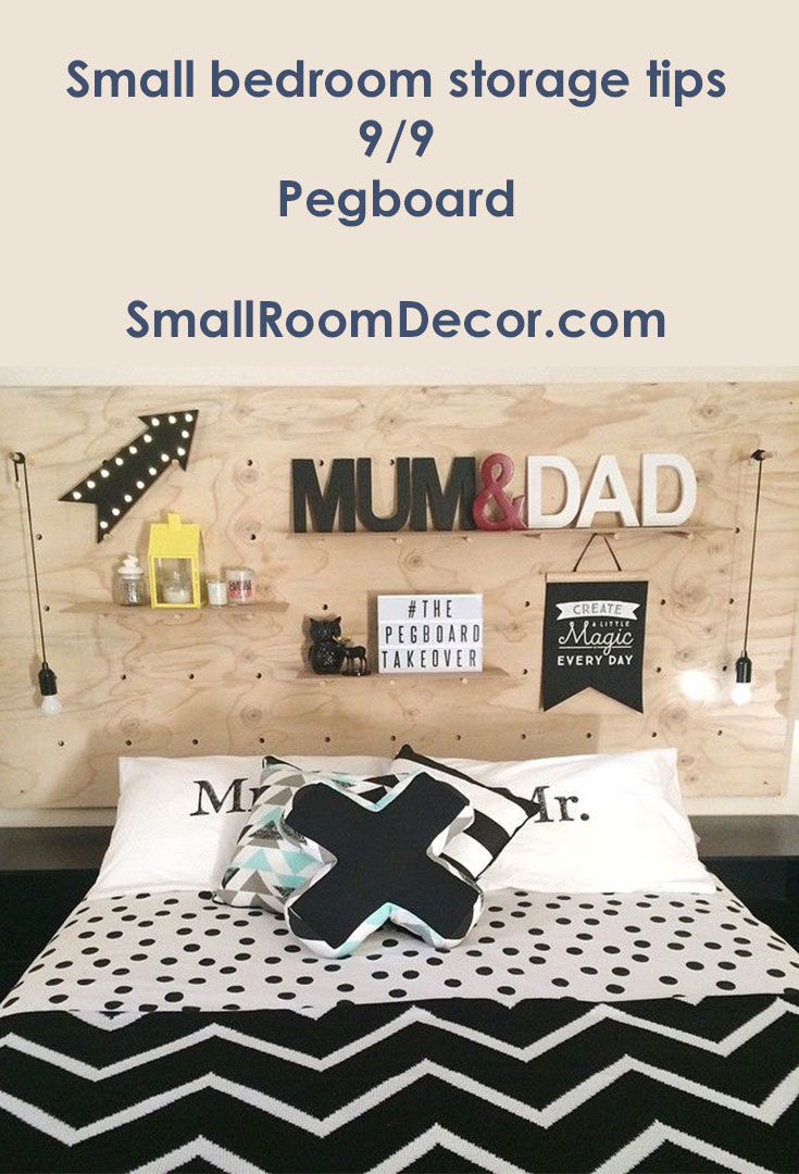 Small bedroom storage tips #pegboard