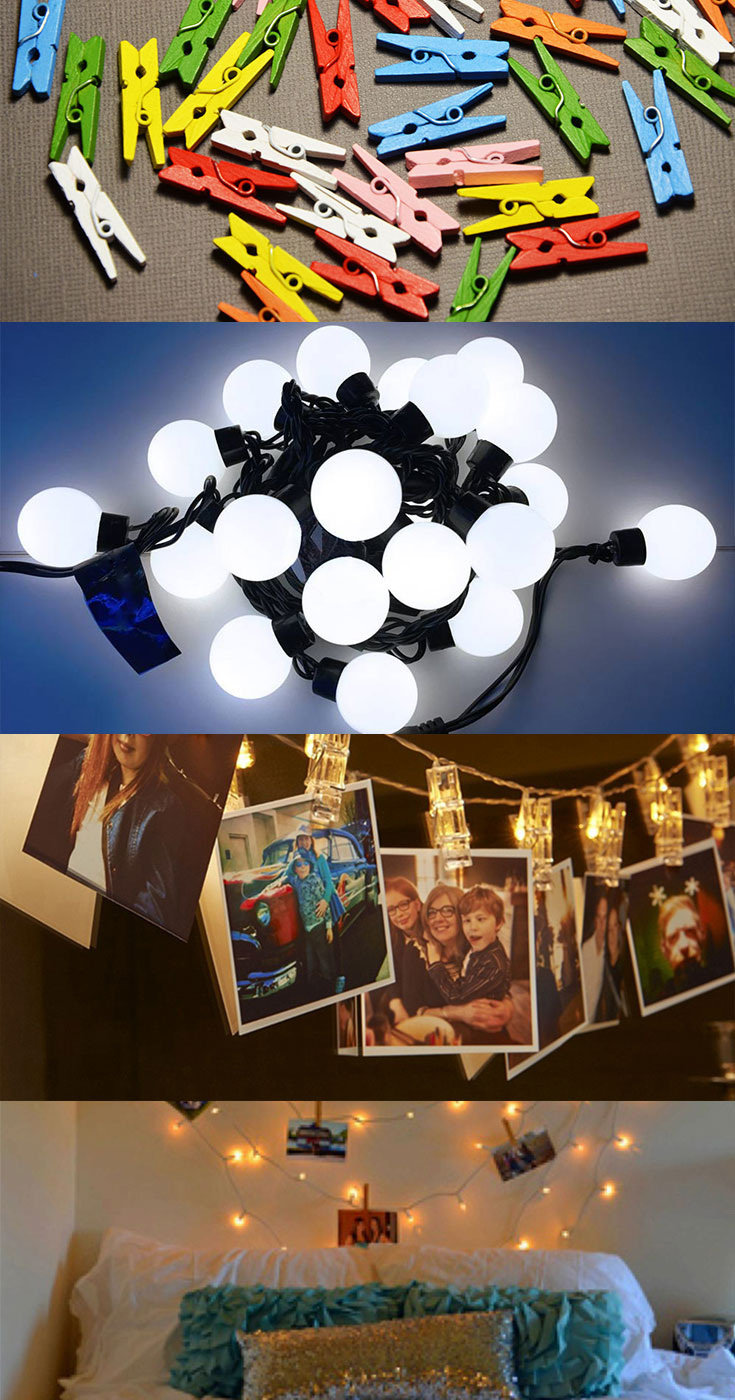 String lights with photos in small bedroom #bedroomlamps