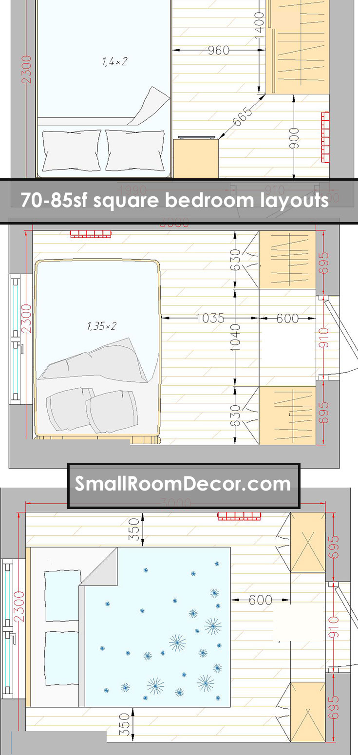 70-85sf square bedroom #layout