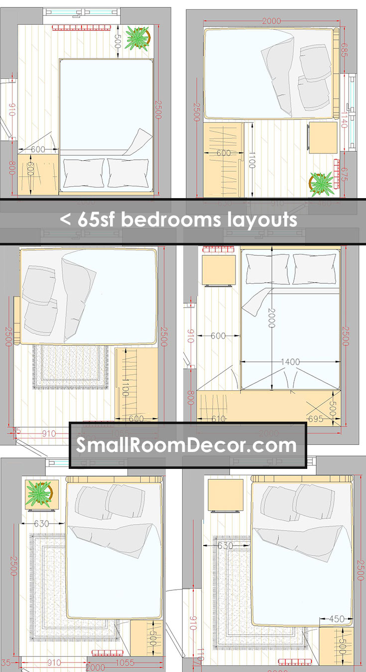 8x8 8x9 8x10 65 sq ft and less bedroom layouts #bedroomorganization #layout