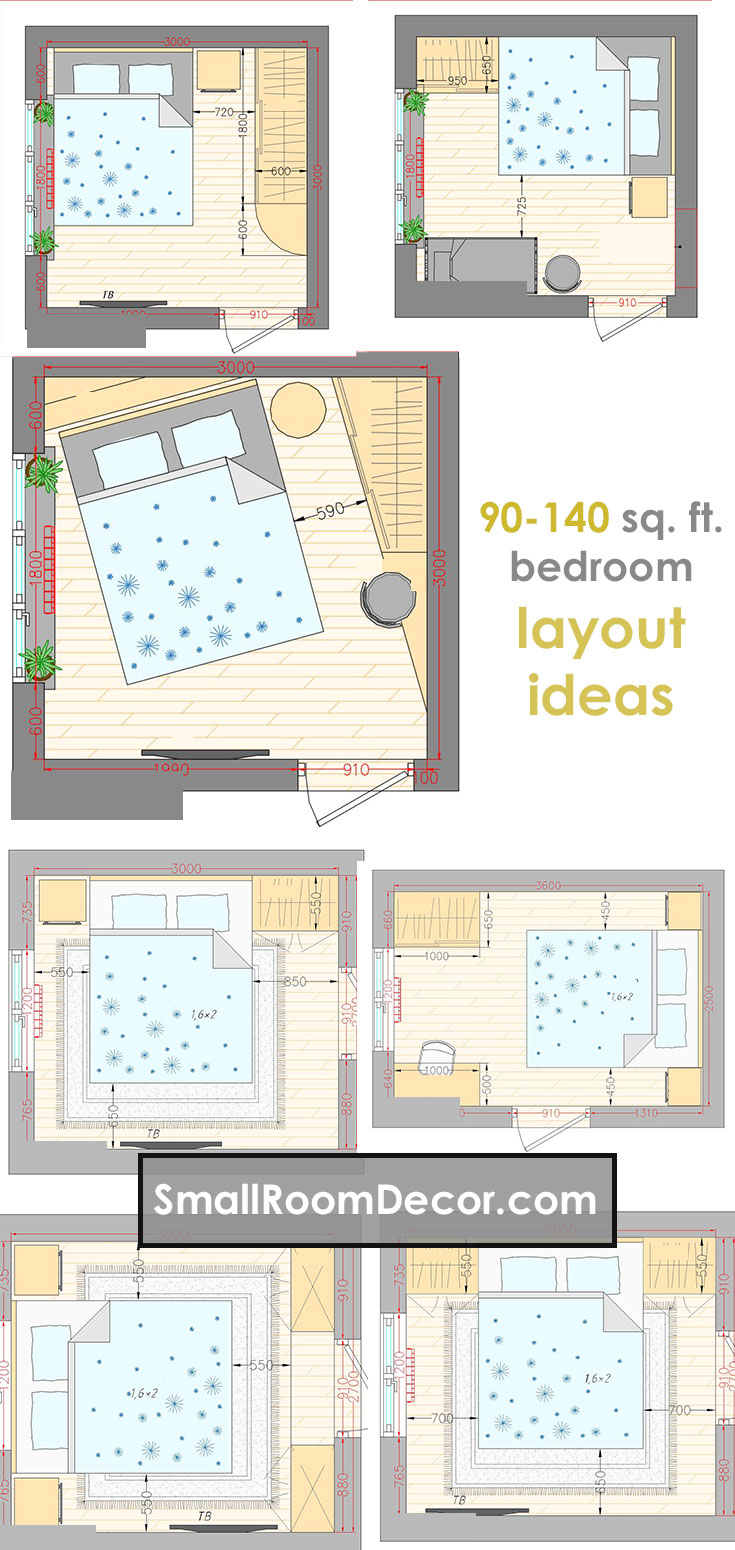 16 Standart And 2 Extreme Small Bedroom Layout Ideas From 65 To 140 Sf