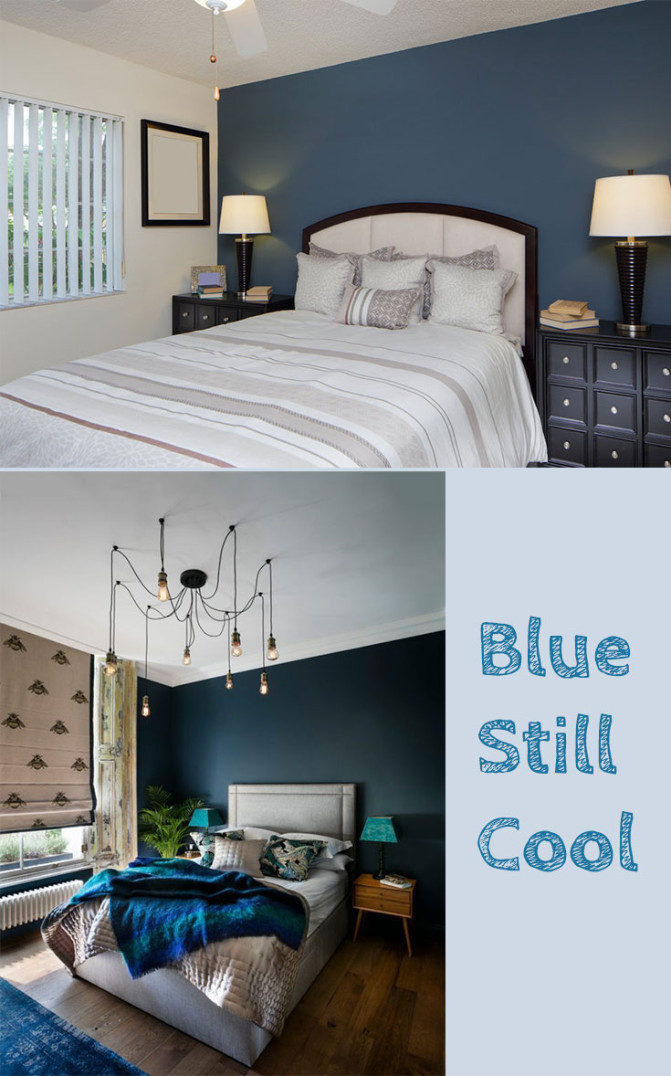 Blue painted wall idea bedroom #bedroominteriordesign