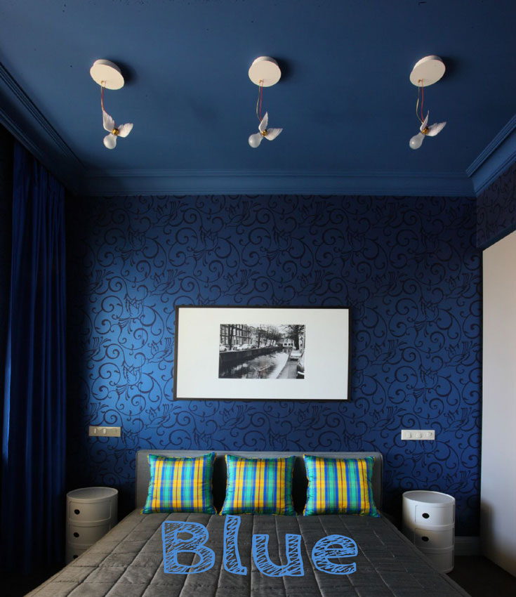 Blue #wallpaper accent wall in #smallbedroom