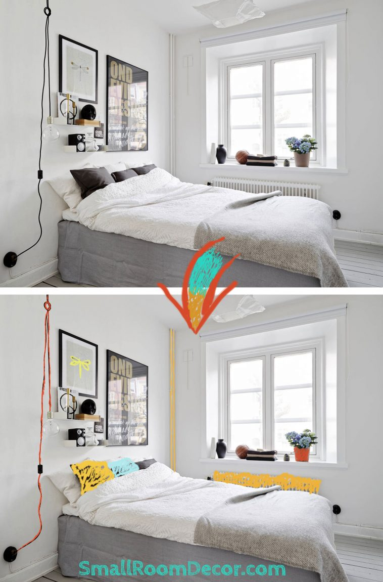 Bright color ideas for small #whitebedroom