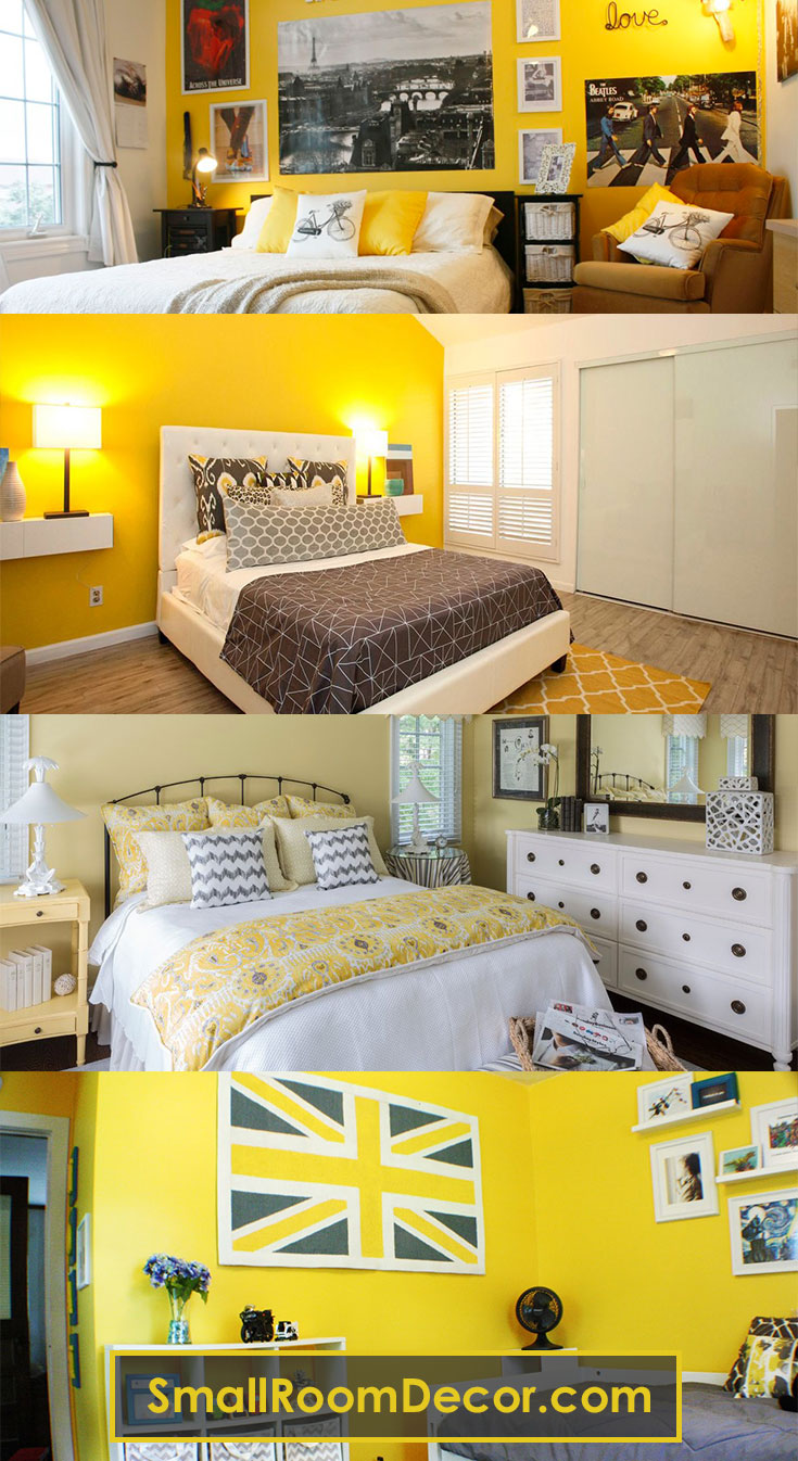 Decorating #smallbedroom in #yellow