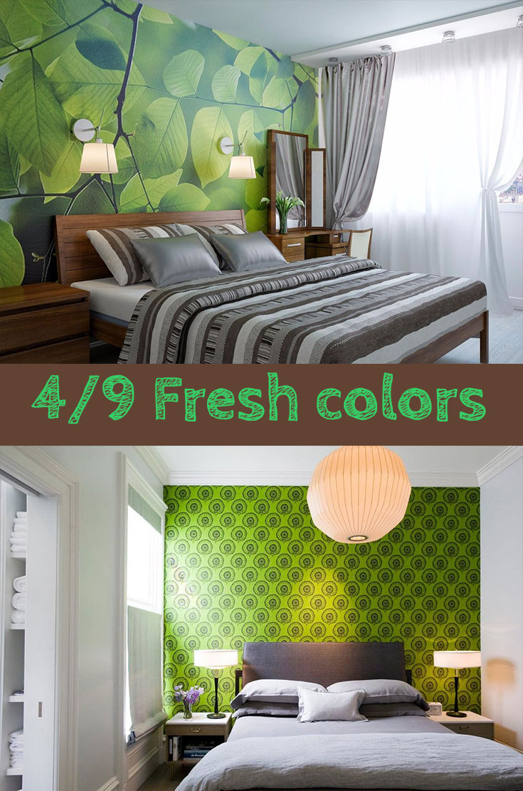 Fresh #green #color ideas in small bedroom