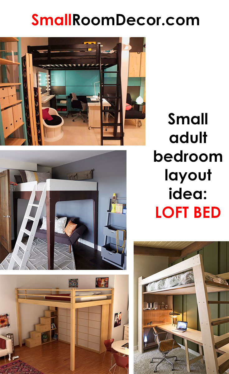 Small adult bedroom layout idea #loftbed
