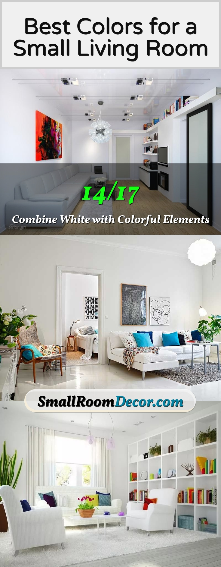 white and intense colors in living room #livingroompaintcolors
