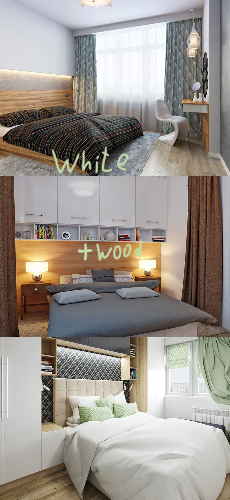 White and wood in small #scandinavian #bedrooms