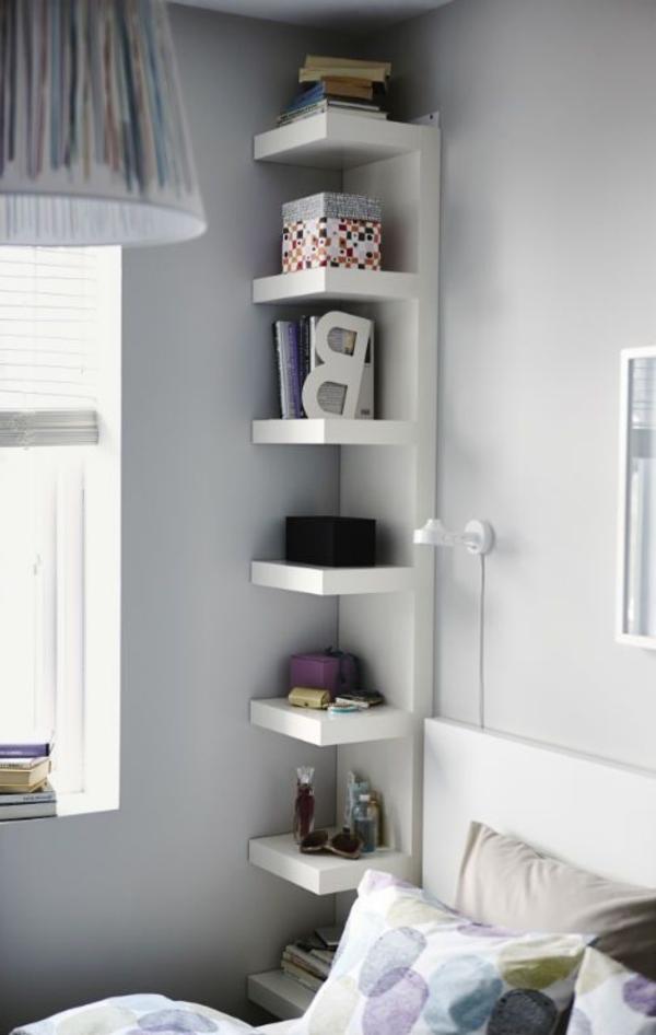 White floor-to-ceiling #shelving in #bedroom
