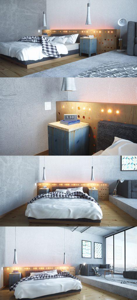 industrial style bedroom wooden furniture #interiordecor #bedroominteriordesign #bedroomstyle
