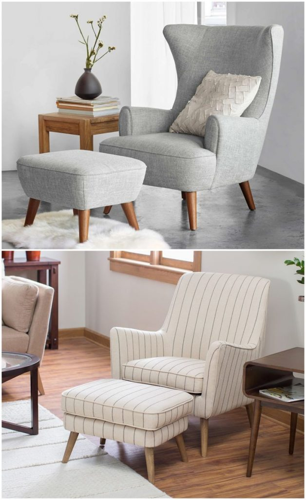 Beige traditional chair with ottoman #ottoman #accentchairs #livingroom