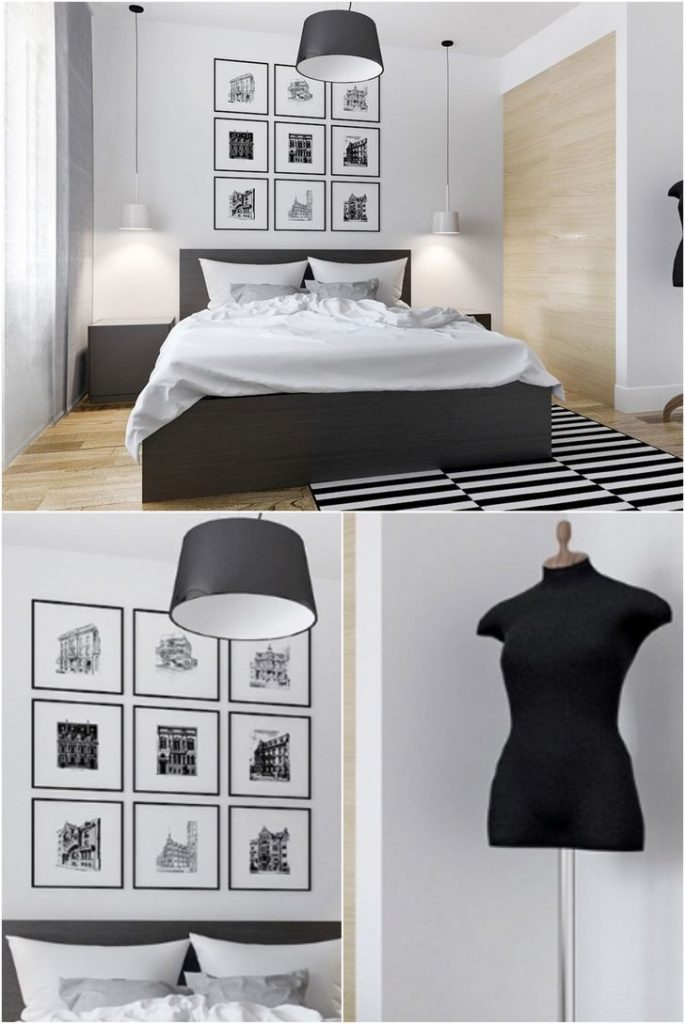 Black and white bedroom with wood on the wall and modern lamps #interiorideas #bedroomlamps #smallbedrooms
