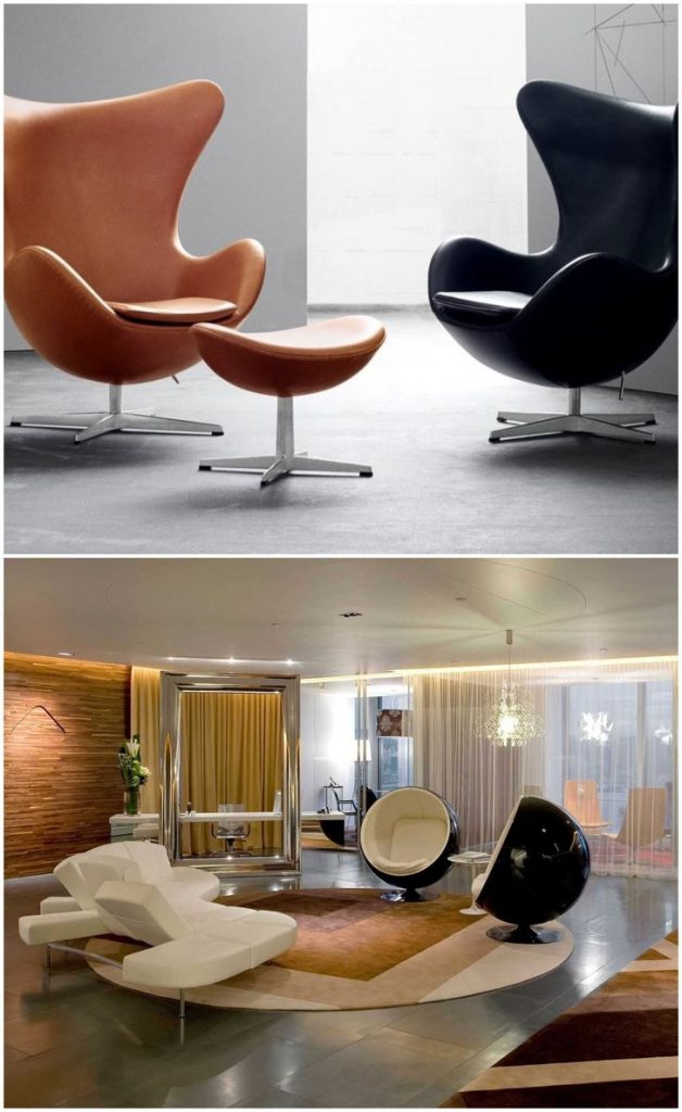 Black egg chairs in living rooms #modernchair #accentchairs #livingroomfurniture