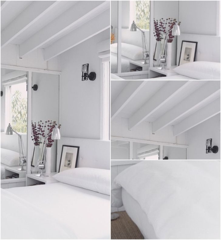 Completely white bedroom with high ceiling in minimalism style #allwhite #lampbedroom #diyroomdecor