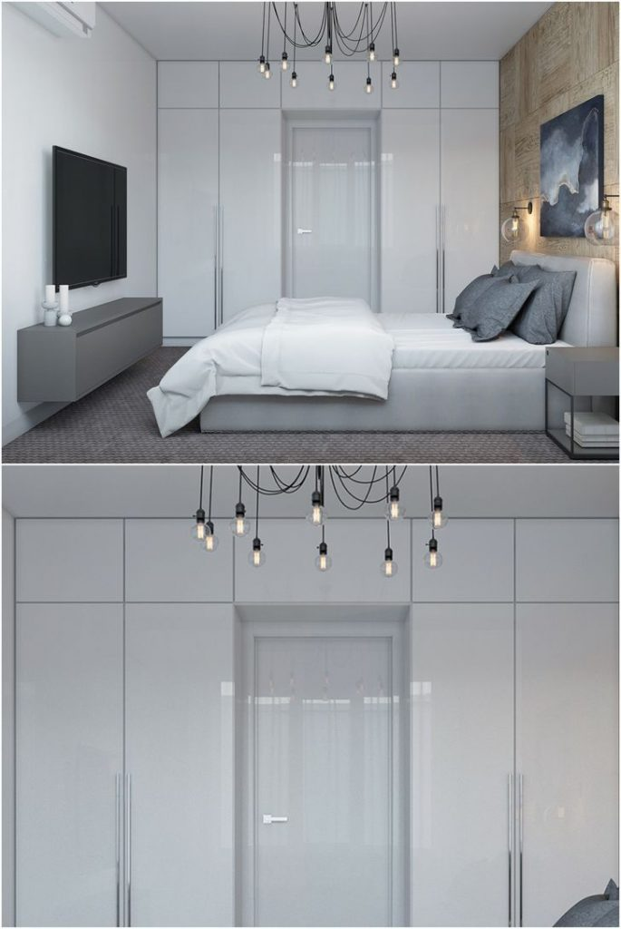 Glossy closet with a mezzanine and hanging chandelier in the white bedroom #homestyle #bedroomdecorideas #lighting