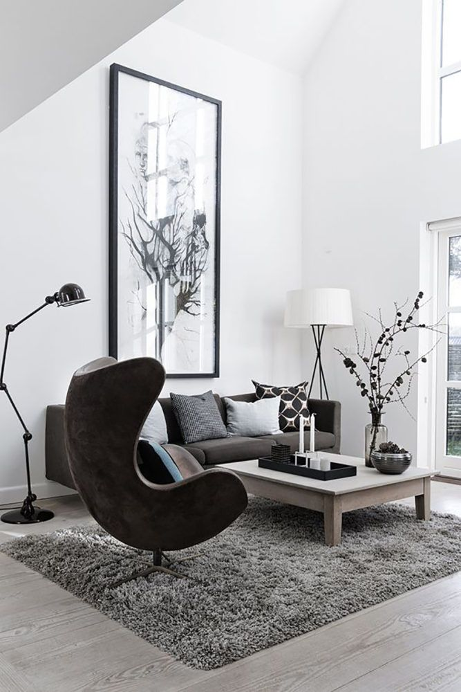 Grey egg chair in white living room #eggchair #accentchairs #homedecorideascozy