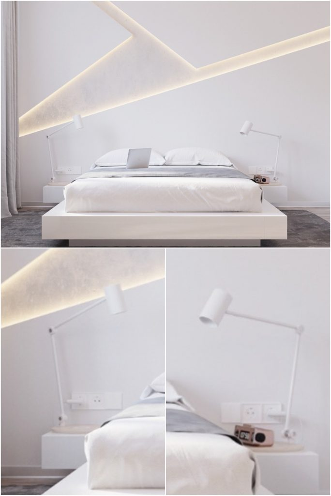 Hidden LED lighting in a modern small white bedroom #roomdecor #bedside #bedroomlighting
