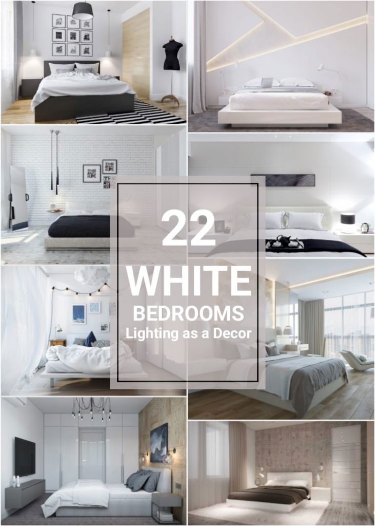 How Lighting and Lamps change Small White Bedrooms #whitebedroom #wallsconces #roomdesign