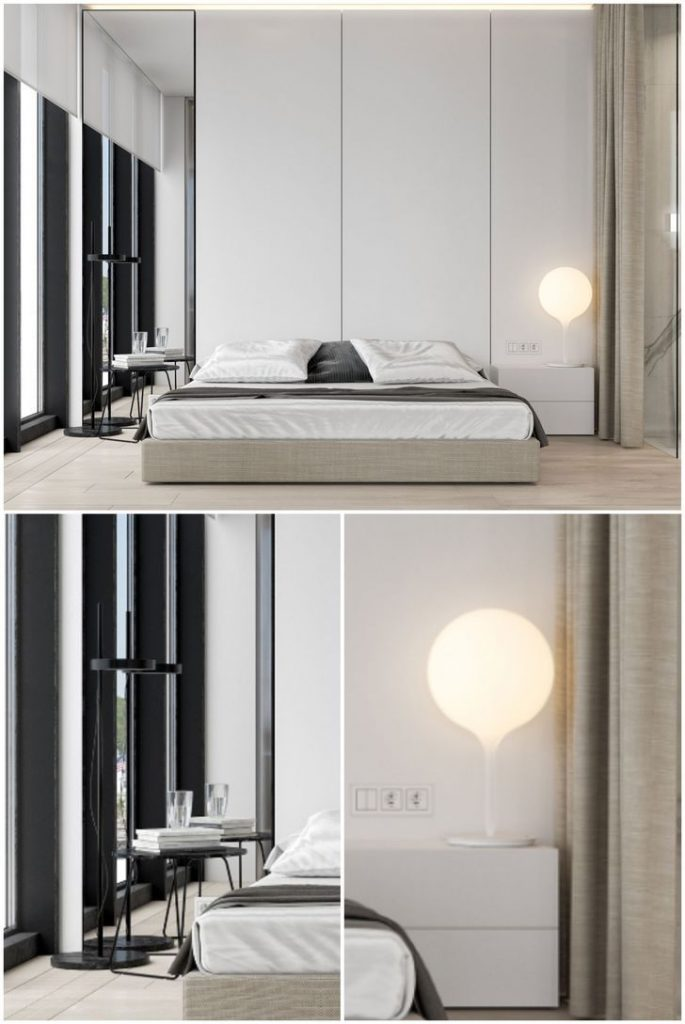Modern minimalistic bedroom design with bedside lamp #bedroomlamps #lightingdesign #homedecor