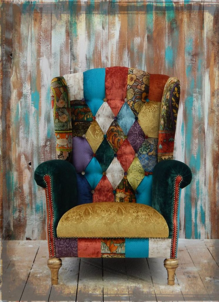 Oversized bright patchwork chair #patchworkchair #chair #livingroomsofa