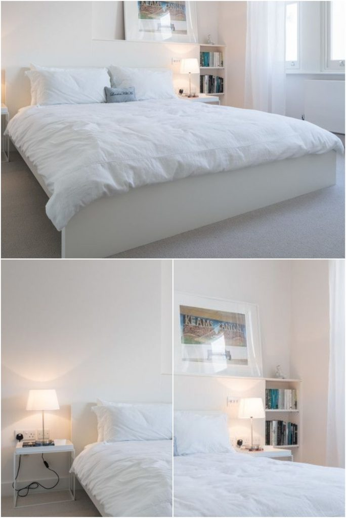 Simple inexpensive bedside lamps in a small white bedroom #allwhite #bedsidelamp #diyhomedecor