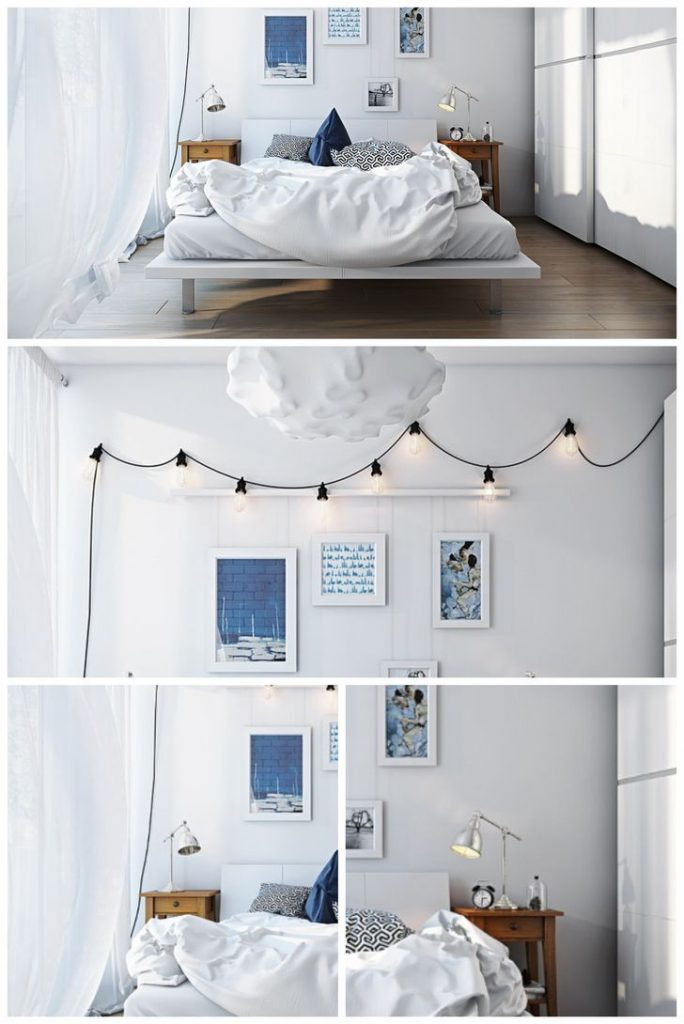 String and bedside lamps in small all white bedroom #allwhite #diyroomdecor #smallbedrooms