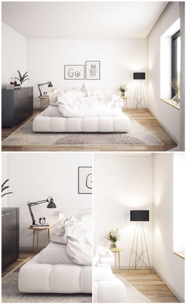 Stylish bedroom with floor lamp and bedside lamp #bedside #roominspiration #smallbedroomdecor