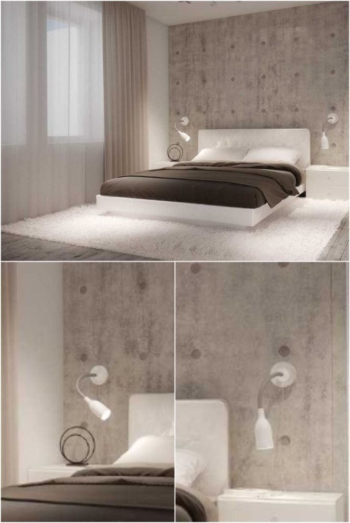 White wall sconces on a concrete wall in a small bedroom #lampbedroom #homedesign #wallsconces