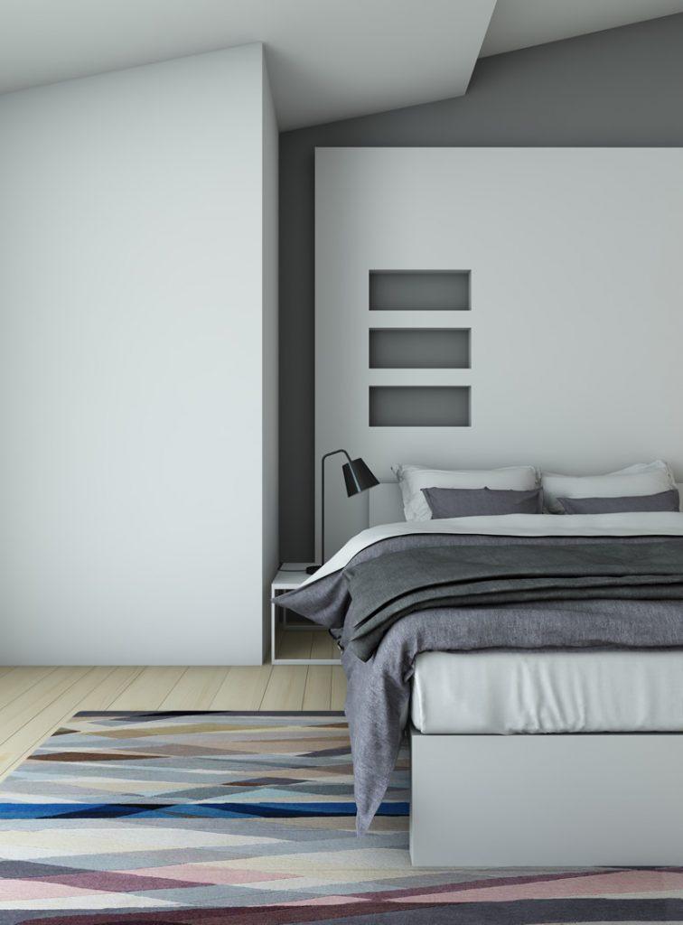 all white small bedroom idea - bedside lamp #allwhite #bedside #minimalistdesign