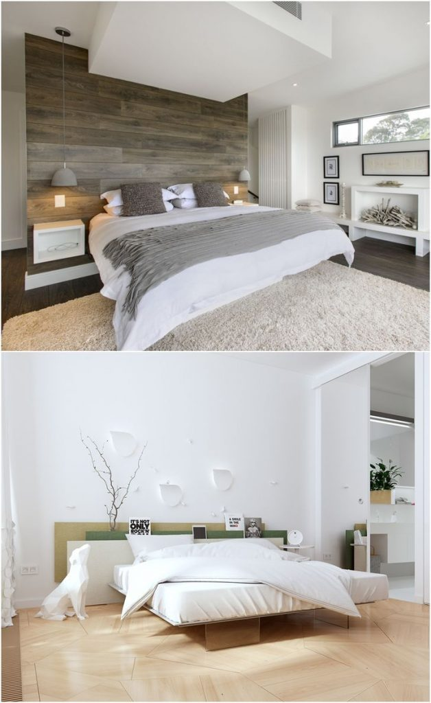 bedroom white and wood #lightingdesign #homeimprovement #smallbedrooms