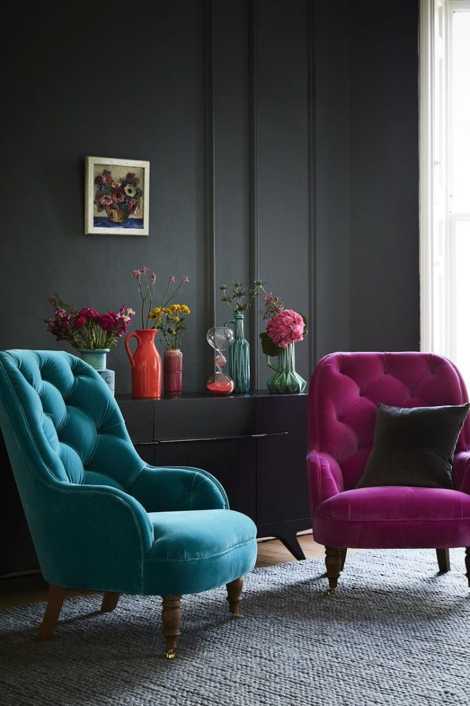 blue and pink accent chairs living room #chairs #livingroomcolors #livingroomfurniture