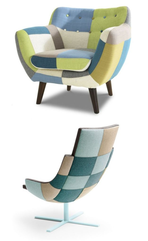 green-blue patchwork chair #patchwork #chair #livingroomcolor