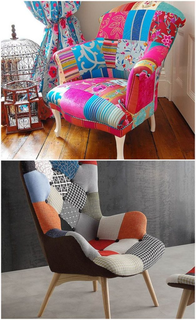 multi coloured patchwork dining chair #patchworkchair #chair #interiordecor