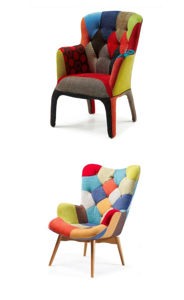 retro patchwork dining #chair #patchwork #livingroomremodeling