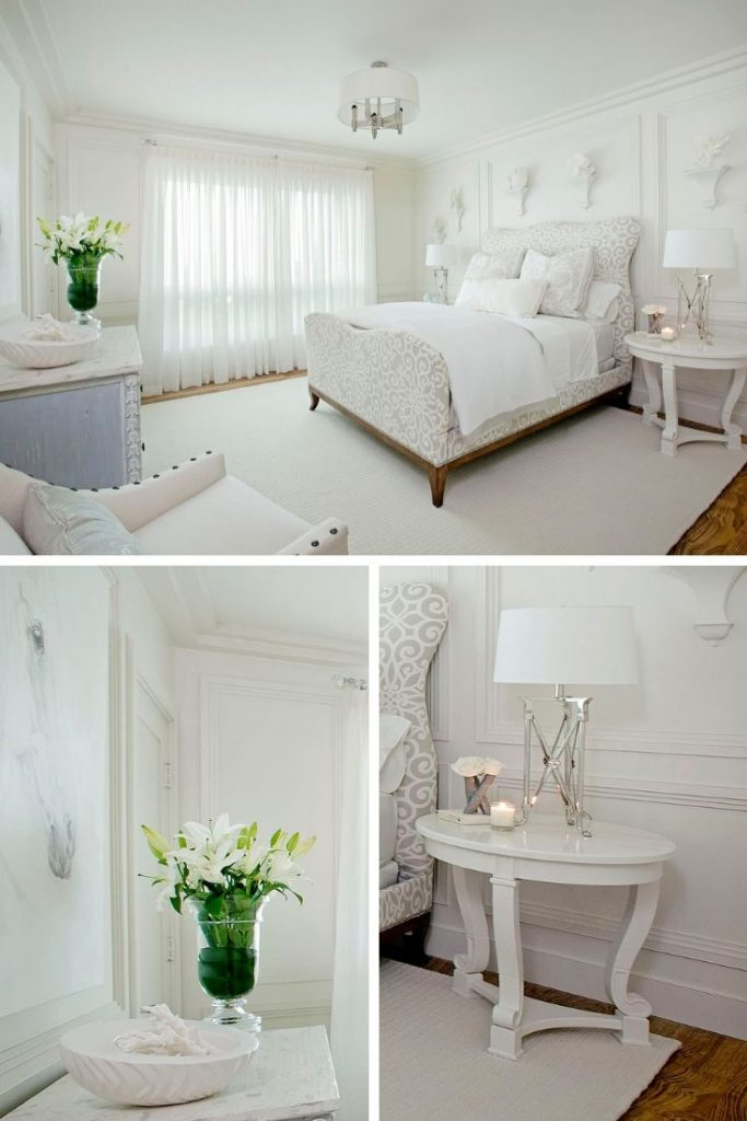 white bedroom furniture decorating ideas #allwhite #bedroomlamps #minimalistdecorshelves