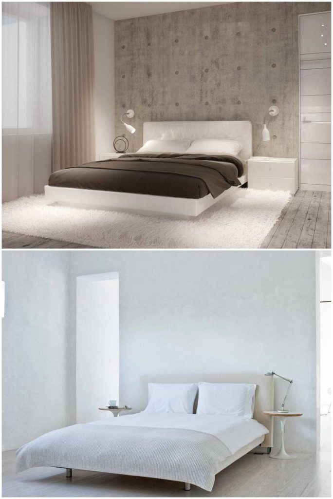 white bedroom grey feature wall #lamps #bedside #roominteriordesign