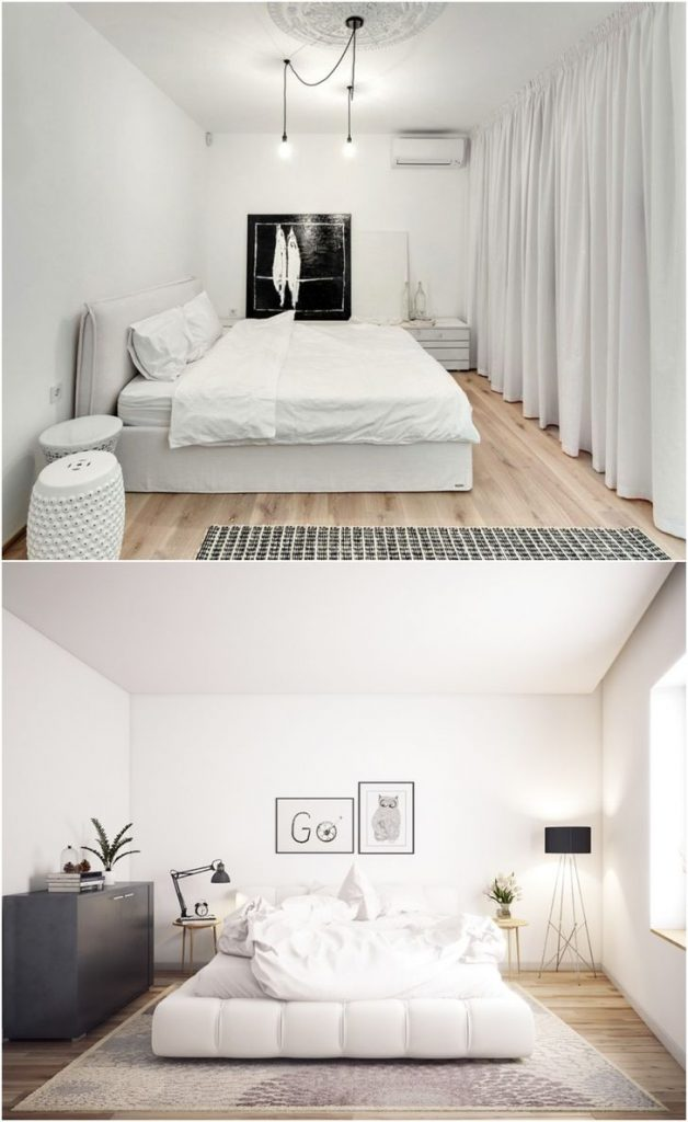 white bedroom with wood accents #walllights #designlamp #homeimprovementprojects